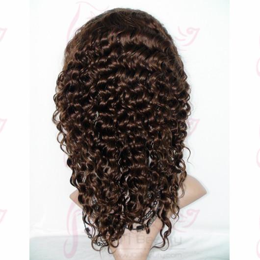 Russia Hair 14 Inch #4 Deep Wave Glueless Full Lace Wigs Virgin Human Hair 6A Quality Hair Bleached Knots Human Hair Wigs