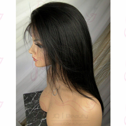 2014 New Women's Wigs Silk Straight Human Hair Glueless Full Lace Wigs for Black Women Brazilian Lace Wigs #1b Color
