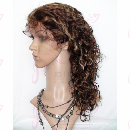 #4 Highlight #27 Color Curly Human Hair Glueless Full Lace Wigs Peruvian Virgin Hair 120% Density Double Knots Wigs for Women