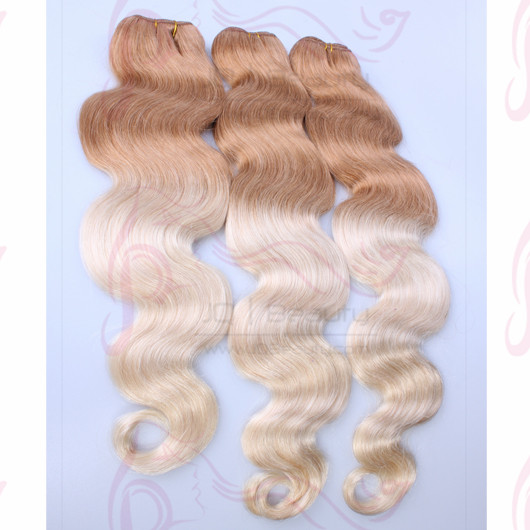 Two Tone Human Hair Extensions #27T#613 Malaysin Hair on Stock 3 pcs Lot Body Wave Hair Extensions for Women