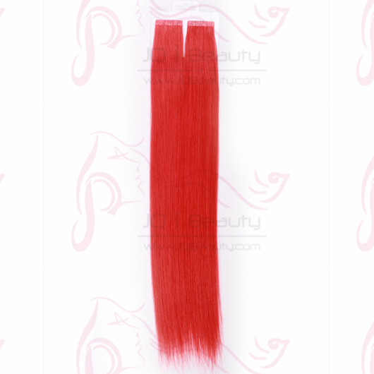 Red Color 18'' Peruvian Virgin Hair Tape Hair Extensions Silk Straight 6A Human Hair 40pcs/set JQ Beauty Hair