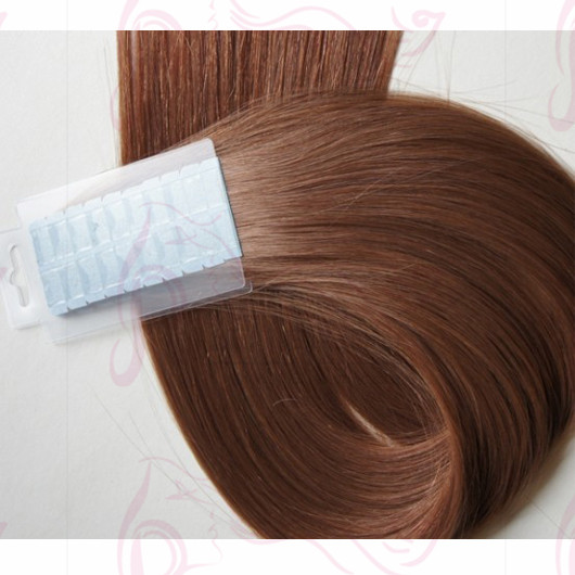 Brown Color 6A India Virgin Hair Super Tape Hair Extensions16 Inches Silk Straight Hair JQ Beauty Brand for Wholesale