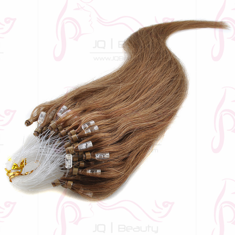 Mongolian Virgin Hair Silk Straight Micro Ring Easy Loop Human Hair Extensions 100g Light Brown Color 6A Grade Wholesale