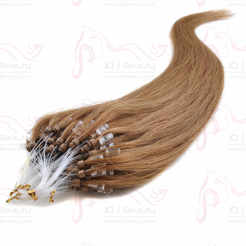 Wholesale Micro Ring Easy Loop Human Hair Extensions 20 Inch 100g Silk Straight Hair Extensions Light Golden Brown