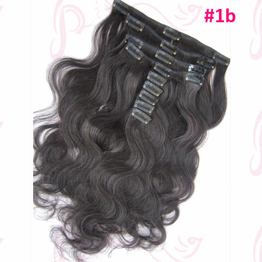 Bazilian Virgin Hair 9 pcs/set #1b Black Color Body Wave Clip in Human Hair Extensions Single Drown Cheap Hair for Wholesale