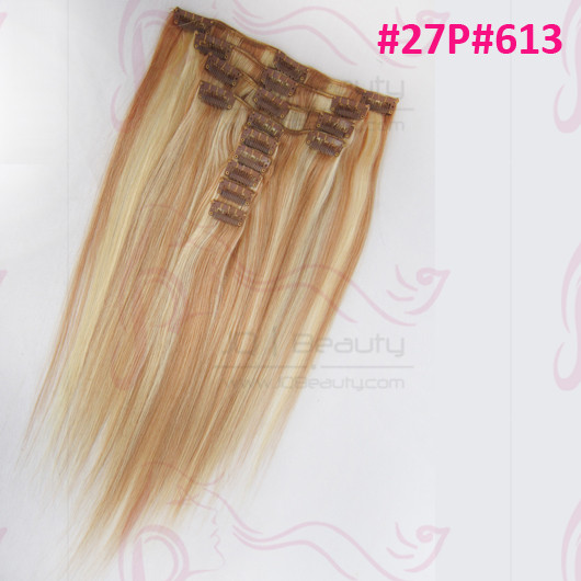 Peruvian Virgin Hair Silk Straight Piano Color #27P#613 Wholesale Clip in Hair Extensions Makeup 5A Human Hair