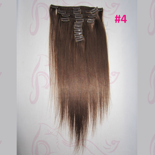 5A Grade Malaysian Virgin Hair Double Drown Human Hair Clip in Hair Extensions Silk Straight #4 Brown Color for Women