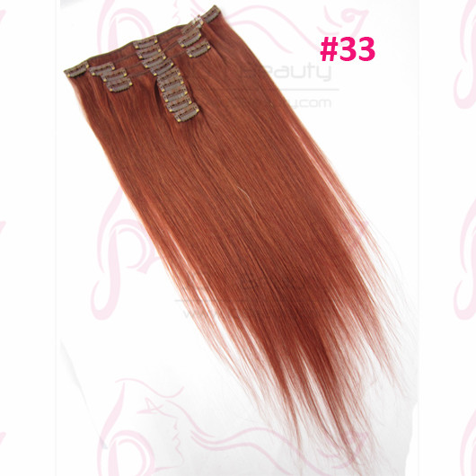 Wholesale Mongolian Virgin Hair Silk Straight Clip In Hair Extensions #33 Color 9pcs/set 18 Inch Human Hair Extension