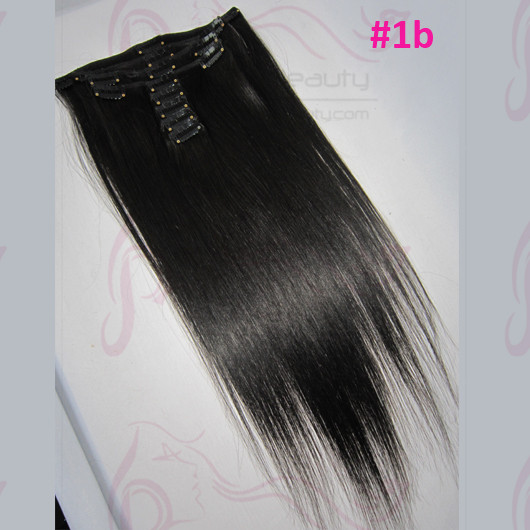 Best Selling Russia Virgin Hair #1b Off Black Color Silk Straight Human Hair Clip in Hair Extensions 8''-30'' available