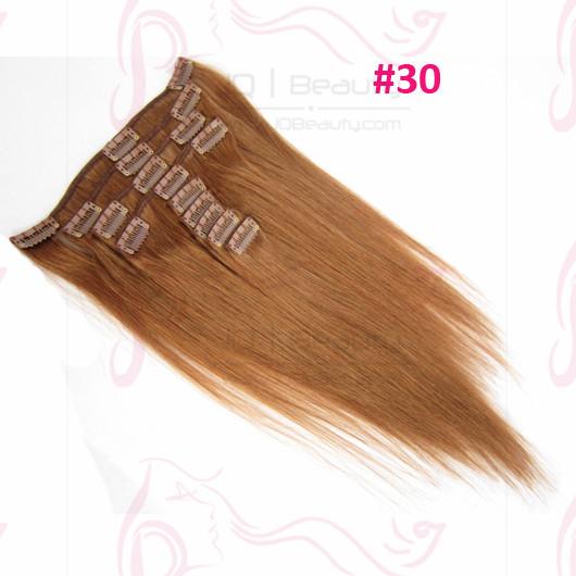 Best Quality European Virgin Hair 5A Remy Human Hair Clip in Hair Extensions Silk Straight #30 Color 16 Inch JQ Beauty Hair