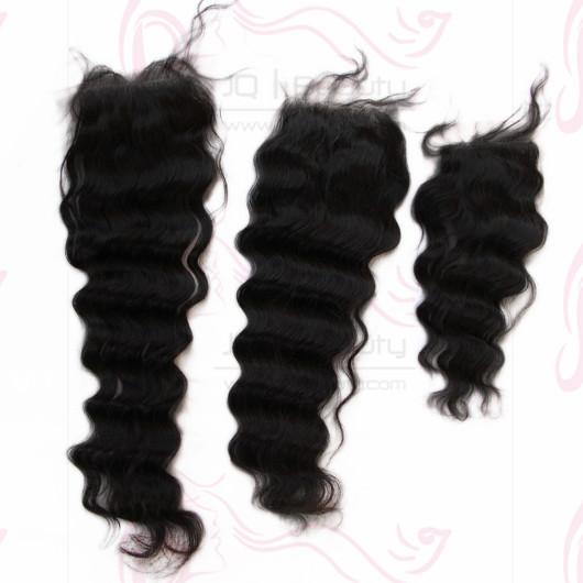 Wholesale Deep Wave 4X4 Lace Top Closure 14'' 16'' 18'' Double Knots Bleached Knots Human Hair Lace Closure