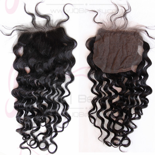 4x4 Swiss Lace Curly Human Hair #1b Natural Black Color Double Knots Around Baby Hair Chinese Virgin Top Closure