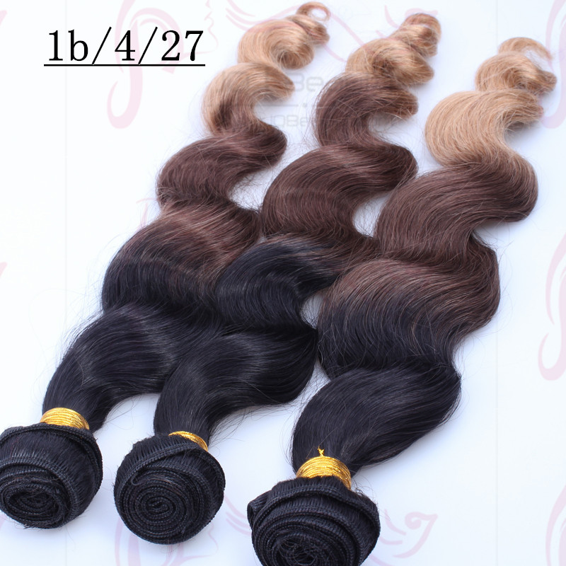 Brazilian virgin hair 6a human hair extensions three tone color 1B/4/27 Ombre color wavy hair extensions Wholesale