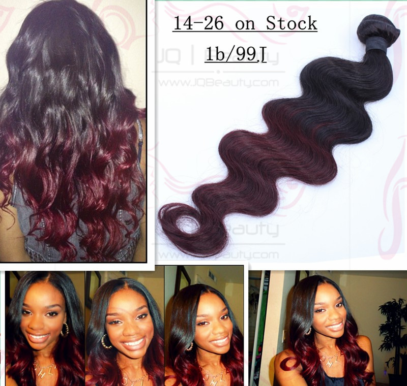 Peruvian Virgin Hair Body Wave 18 inch Two Tone Color Ombre Hair Extensions #1bT#99J Double Drown Human Hair Extensions