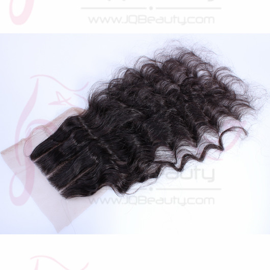 India Virgin Hair 4x4 Swiss Lace Deep Wave Three Part Top Closures #1b Natural Black Color for Wholesale