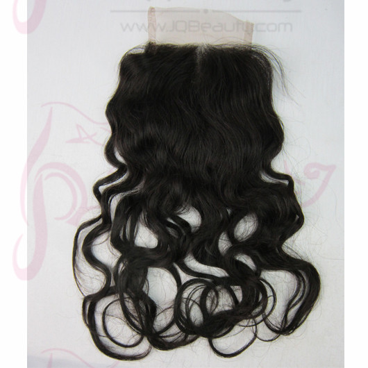 Russia Virgin Hair Curly Texture 16'' #1b Natural Black Color 4x4 Swiss Lace Closure Middle Part Top Closure
