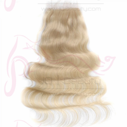 European Virgin Hair Body Wave  #613 Blonded Color Swiss Lace 100% Human Hair Top Closure  4x4 Size Double Knots for Wholesale