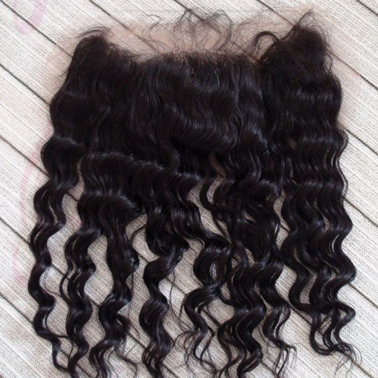 JQ Beauty Natural Color Virgin Hair Deep Wave Free part lace frontal bleached knots 13*4 baby hair with PU arround the perimeter