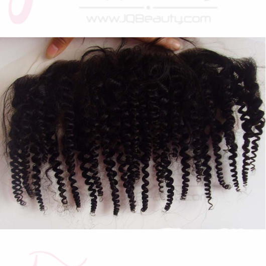 Lace Frontal Closure 13X4 Kinky Curly Natural Color 5A 100% Virgin Mongolian Hair Lace Frontal Bleached Knots