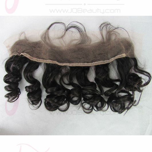 JQ Beauty Lace Frontal Closure 13X4 Spring Curly Natural Color 5A 100% Brazilian Virgin Hair Lace Frontal Bleached Knots