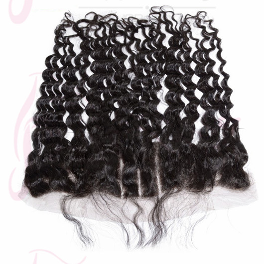 Three Part Lace Frontal Closure Deep Wave Russia Virgin Hair #1b Natural Black Color 13x4'' Bleached Knots Lace Closures
