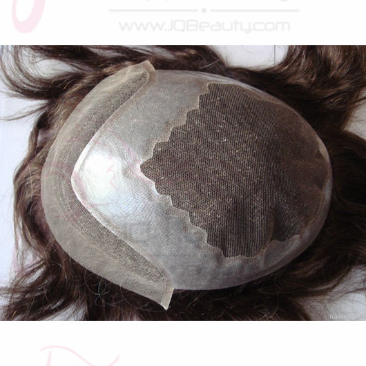 Mans Toupee Hair Piece 6 inch Length Swiss Lace with PU Hair Toupee for Man