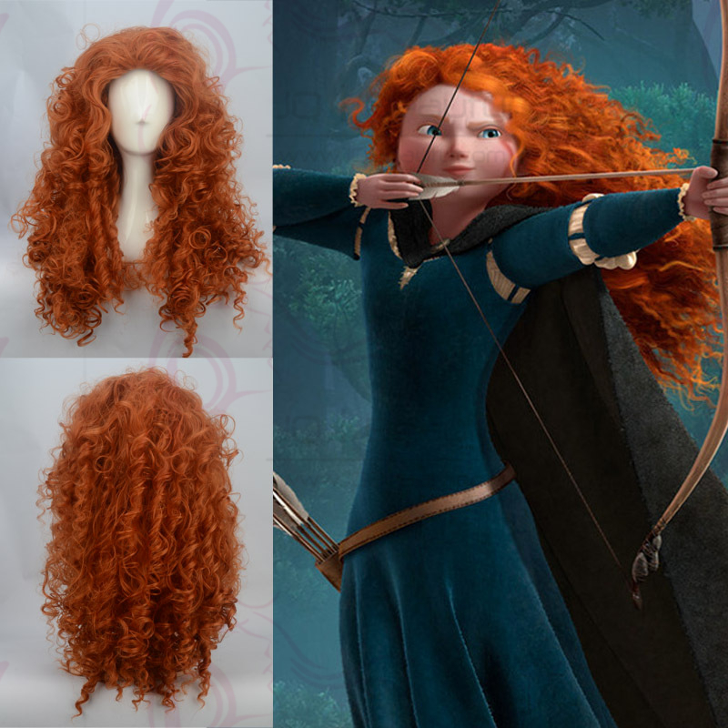 Long Curly Orange Synthetic Wig MERIDA Brave Heart Cosplay Wigs 100% Adjustable Halloween Products