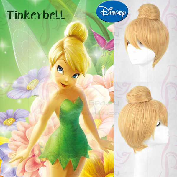 Princess Tinker Bell Tinkerbell Blonde Bun Cosplay Wig Cos Wigs Adult Free Size Full hair Wigs