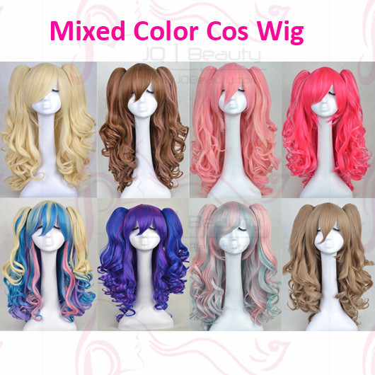 New Lolita Cosplay Wigs With Two Ponytails Brown Blue White Hot Pink Dual-Color Pink Performance Cosplay Wig