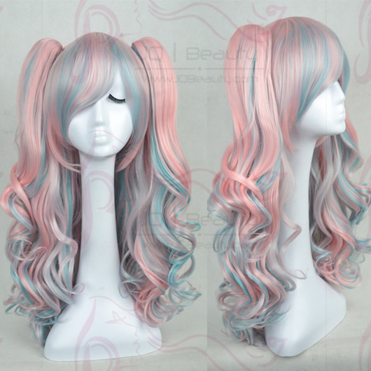 New Lolita Cosplay Wigs With Two Ponytails Brown Blue White Hot Pink ... 0820ad032
