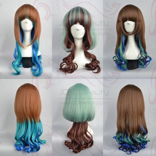New Arrival Long Curly Mix Color Brown&Blue 22inches Cosplay Wigs Party Wigs