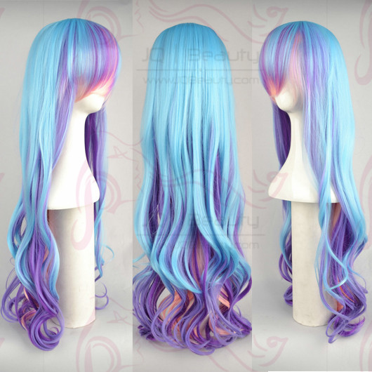 Long Curly Dual Color 26 inches Blue&Purple Cosplay Wigs Party WIGS